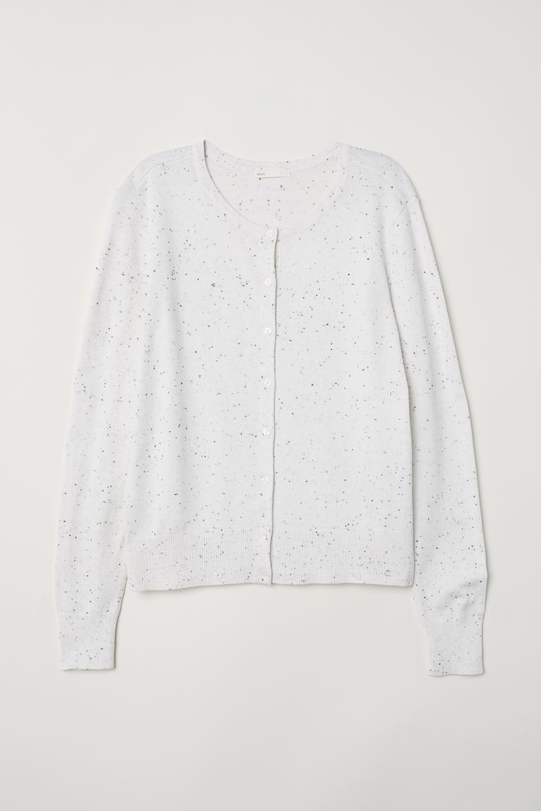 Fine-knit Cardigan - Natural white/nepped - Ladies | H&M US