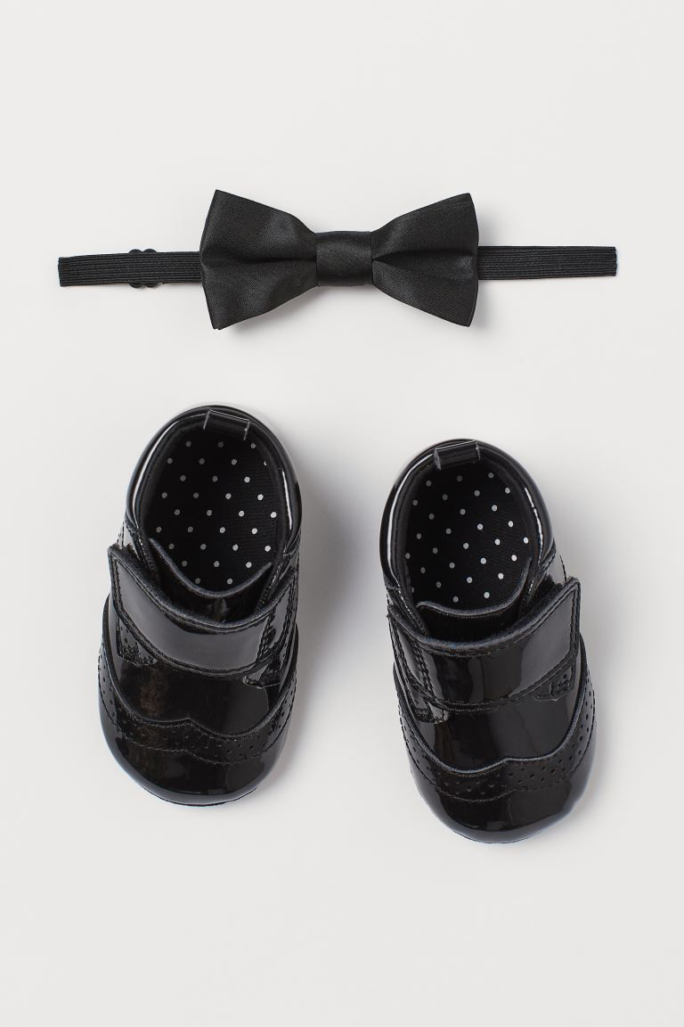 2-piece accessories set - Black/Patent - Kids | H&M IN