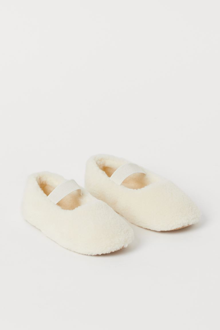 Faux Shearling Indoor Slippers - Natural white - Kids | H&M US
