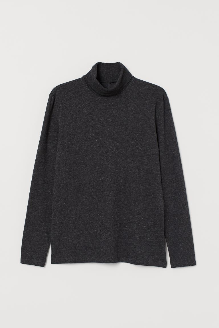 Polo-neck top Slim Fit - Dark grey marl - Men | H&M