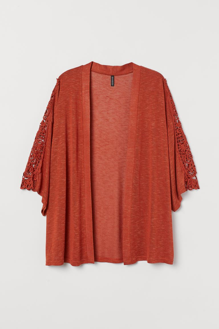 H&M+ Lace-detail cardigan - Rust red - Ladies | H&M IN
