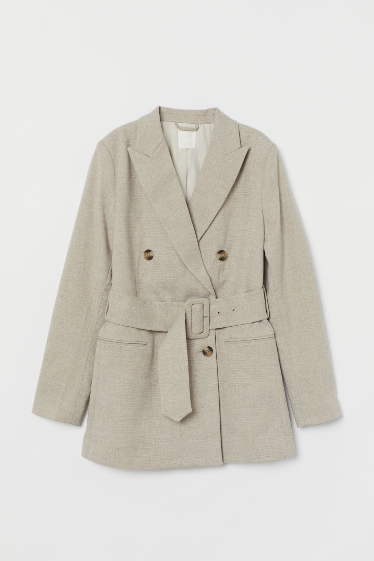 Double-breasted belted jacket - Light beige marl - Ladies | H&M
