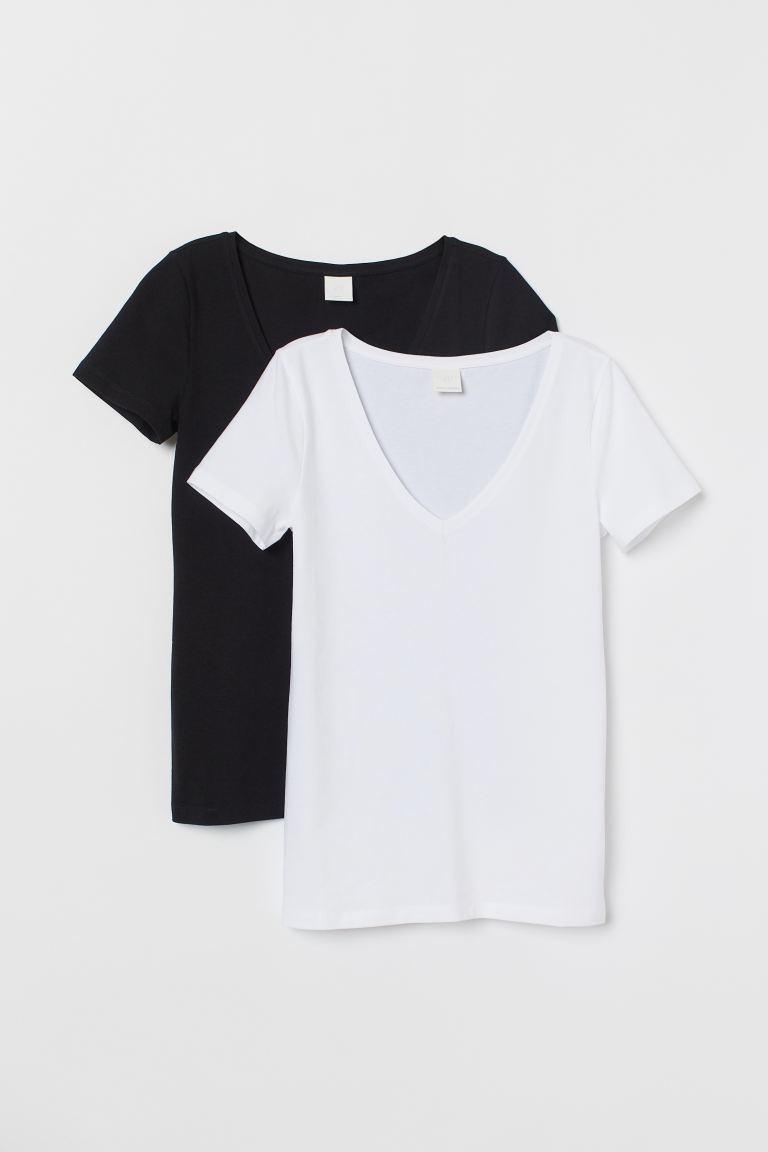 2-pack V-neck T-shirts - White/black - Ladies | H&M US