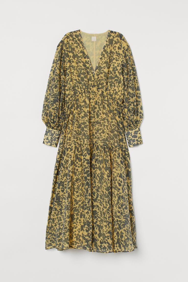 Langes Kleid aus Lyocellmix - Hellgelb/Leopardenmuster - Ladies | H&M DE
