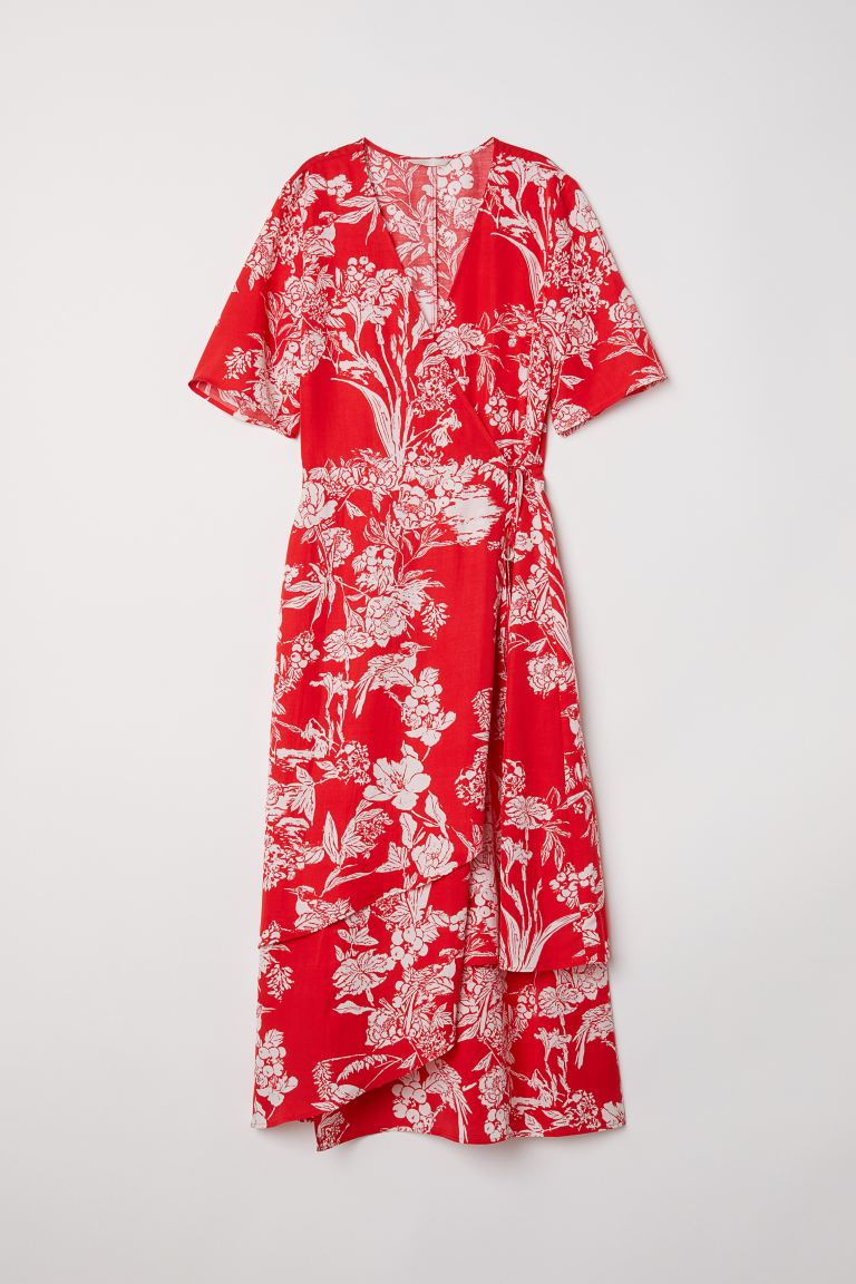 Wrap dress - Red/Patterned - Ladies | H&M GB