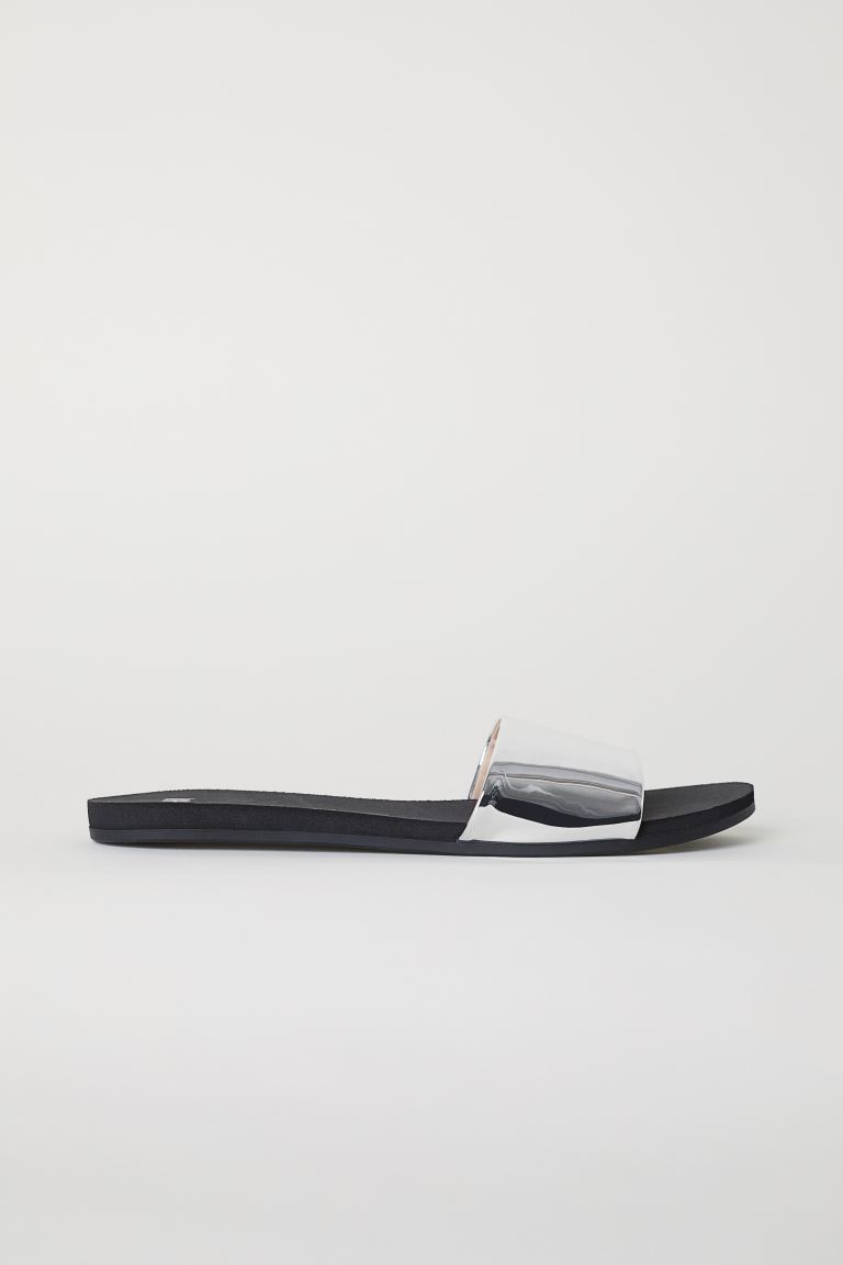 Slides - Black/Silver-coloured - Ladies | H&M GB