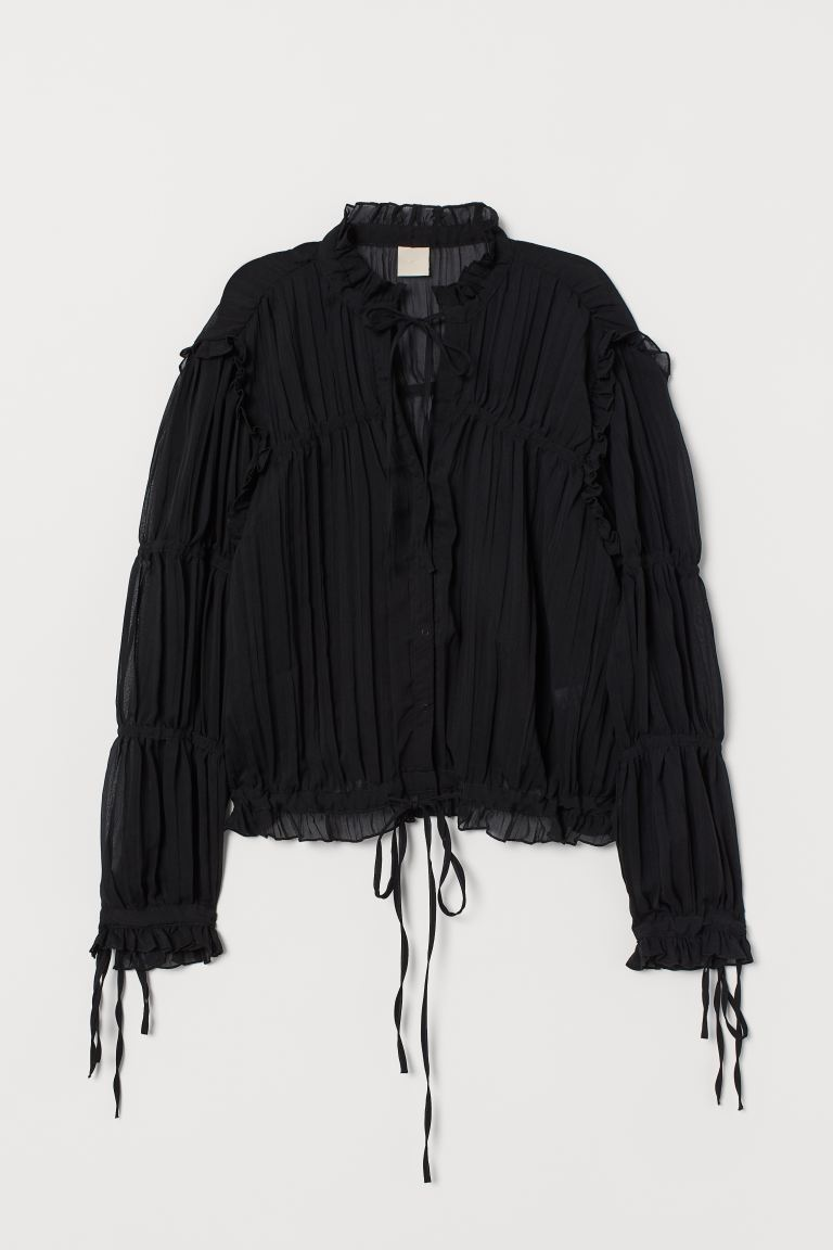 Frilled blouse - Black - Ladies | H&M IE