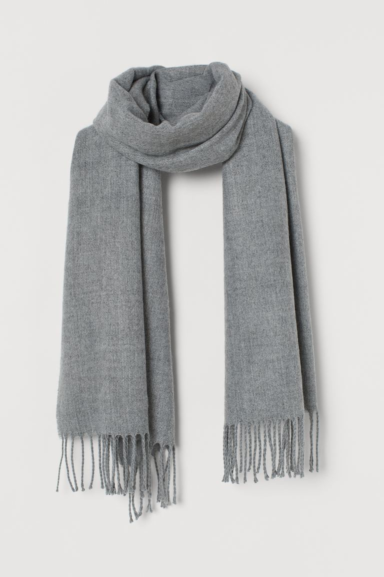 Scarf with Fringe - Gray melange - Ladies | H&M US