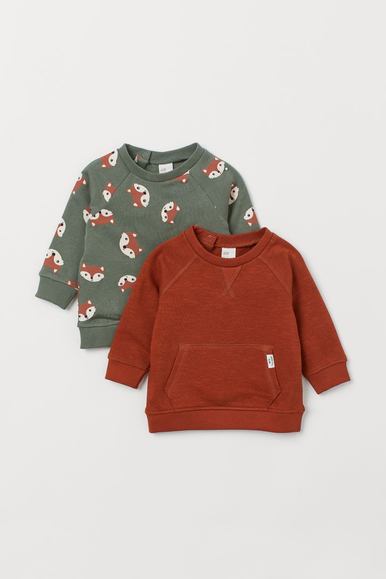 2-pack cotton sweatshirts - Rust brown/Foxes - Kids | H&M GB