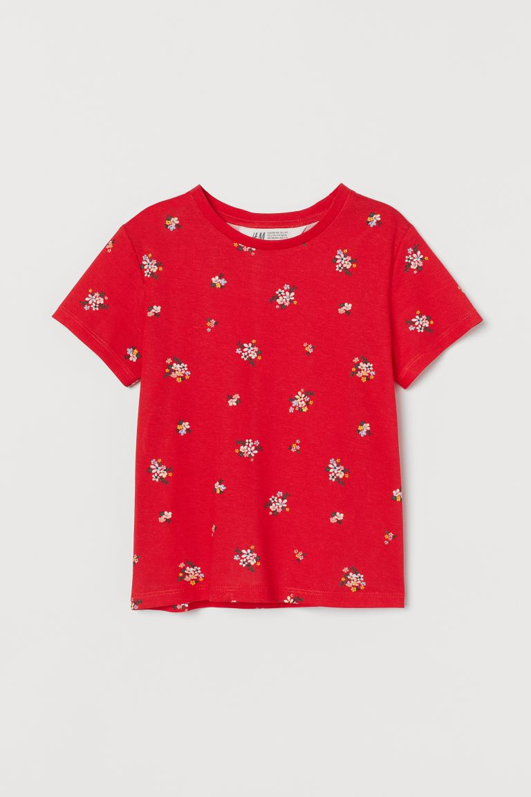 Print Jersey Top - Red/Floral - Kids | H&M AU