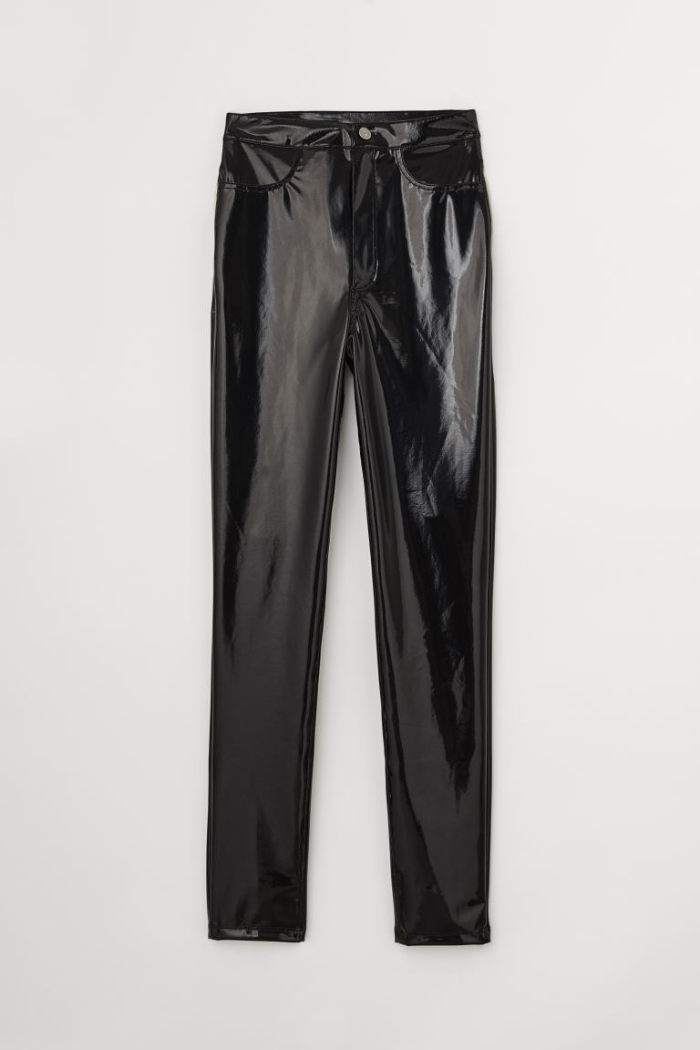 Faux Leather Pants - Black/patent - Ladies | H&M US