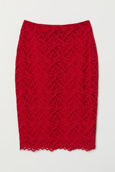 Fitted Lace Skirt - Red - Ladies | H&M US