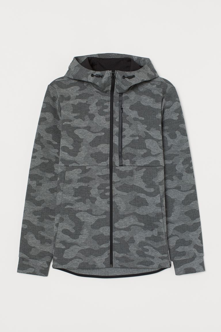 Sporty hooded jacket - Grey marl/Patterned - Men | H&M IN