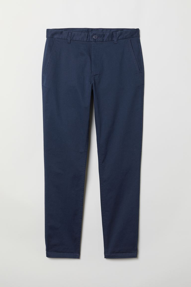 Tapered Fit Chinos - Dark blue - Men | H&M US