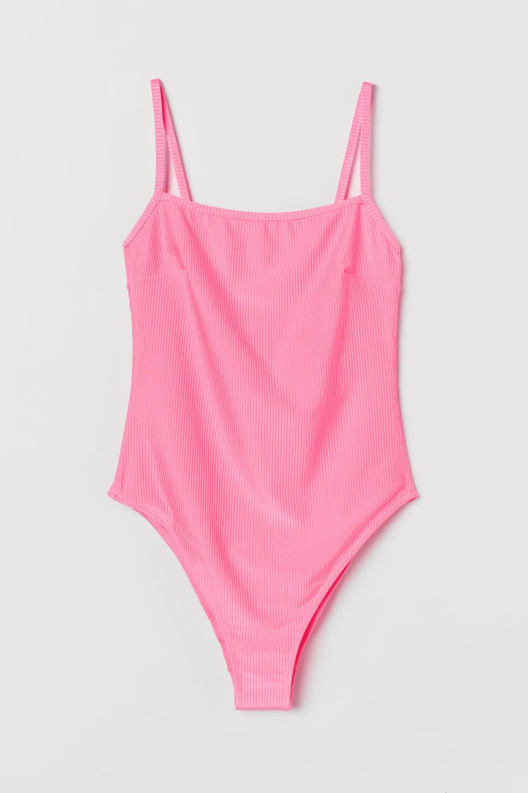 High Leg Swimsuit - Neon pink/ribbed - Ladies | H&M CA