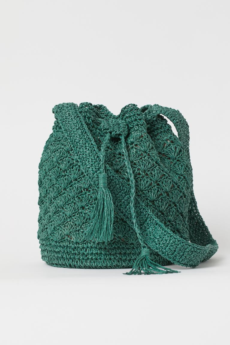 Straw bucket bag - Green - Ladies | H&M GB