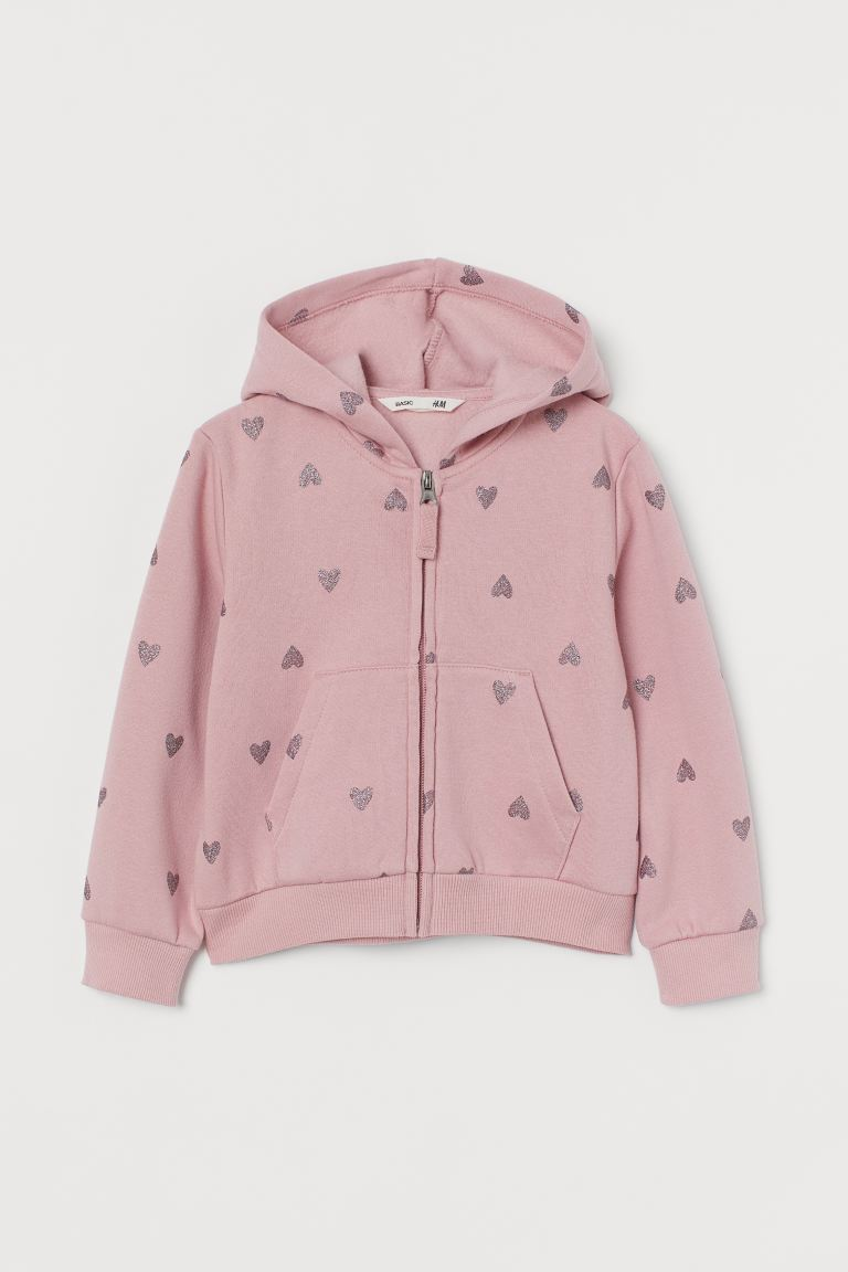 Hooded Jacket - Dusty rose/hearts - Kids | H&M US