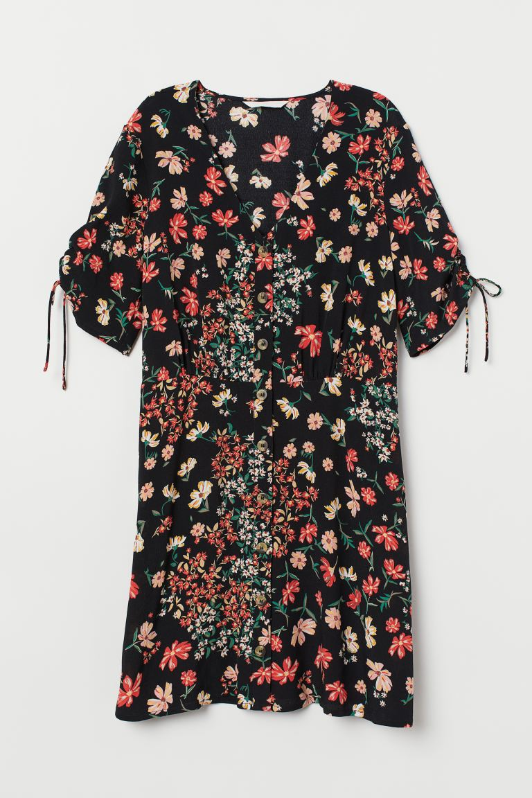 Crêped Dress - Black/floral - Ladies | H&M US