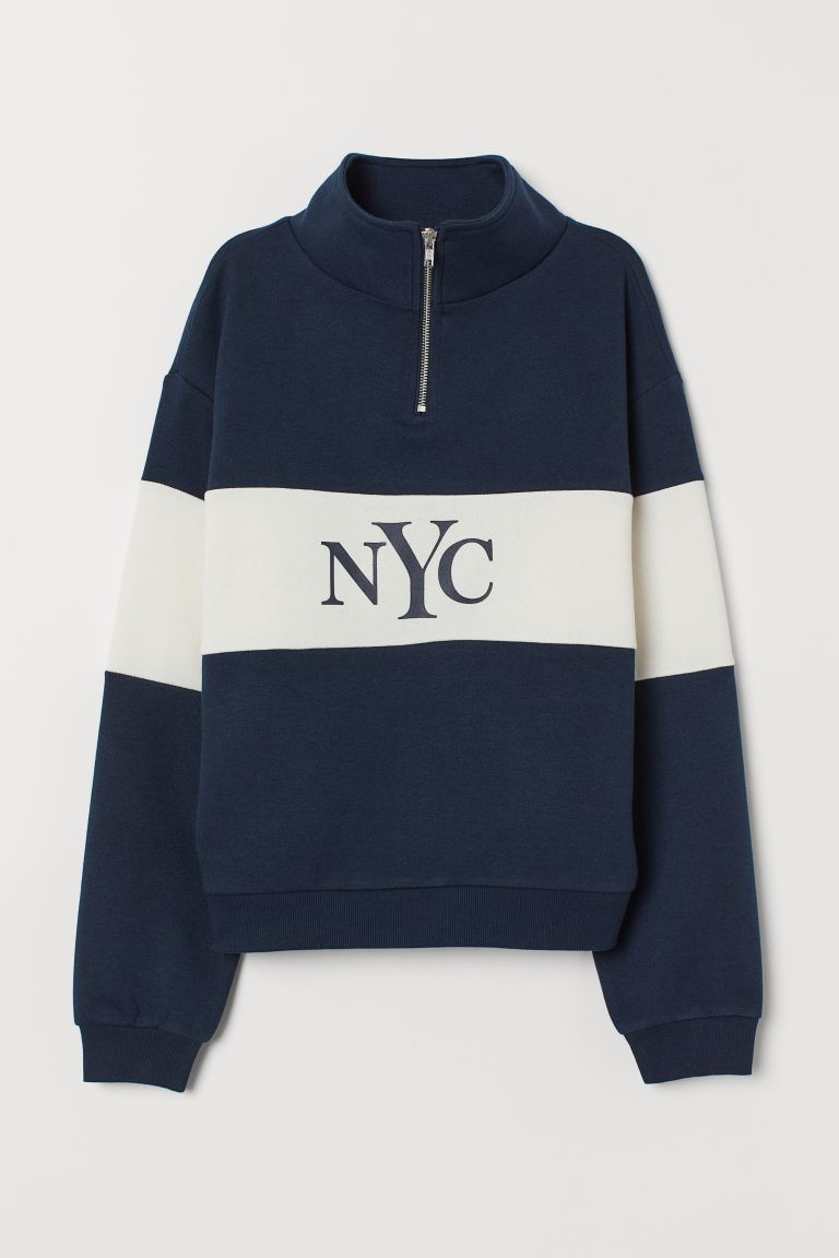 Stand-up-collar Sweatshirt - Dark blue/NYC - Ladies | H&M CA