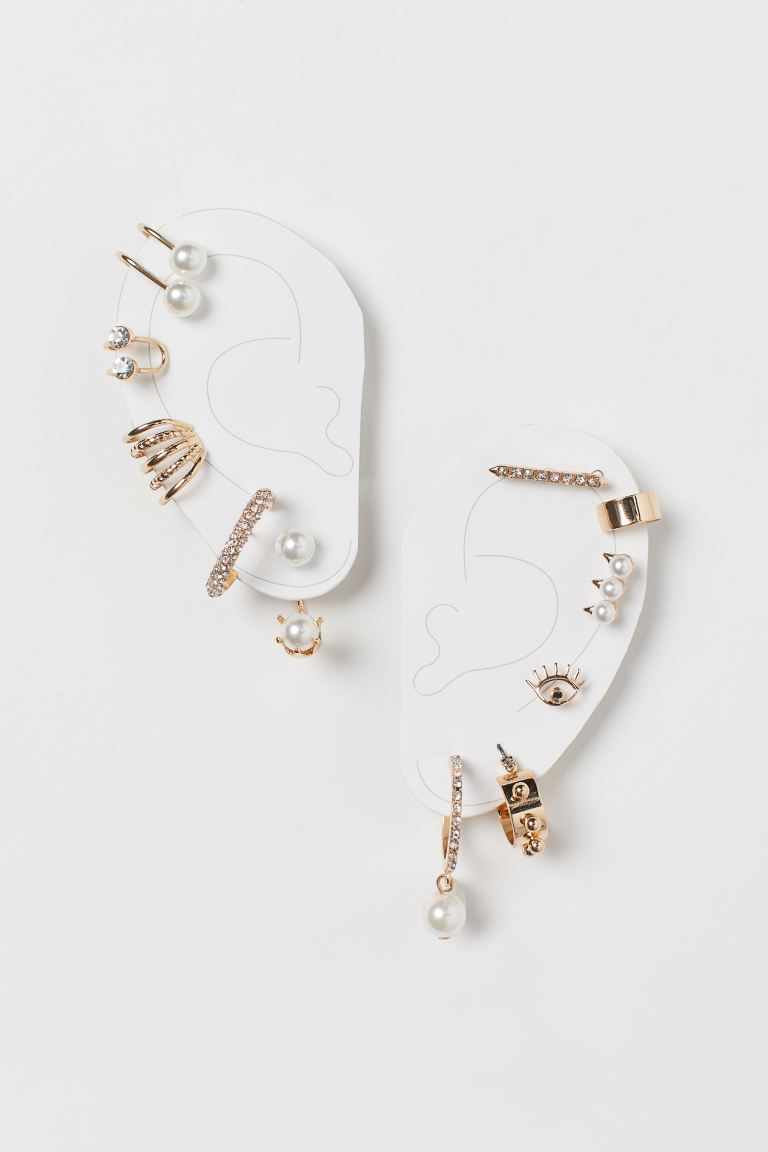 Earrings and ear cuffs - Gold-coloured/White - Ladies | H&M