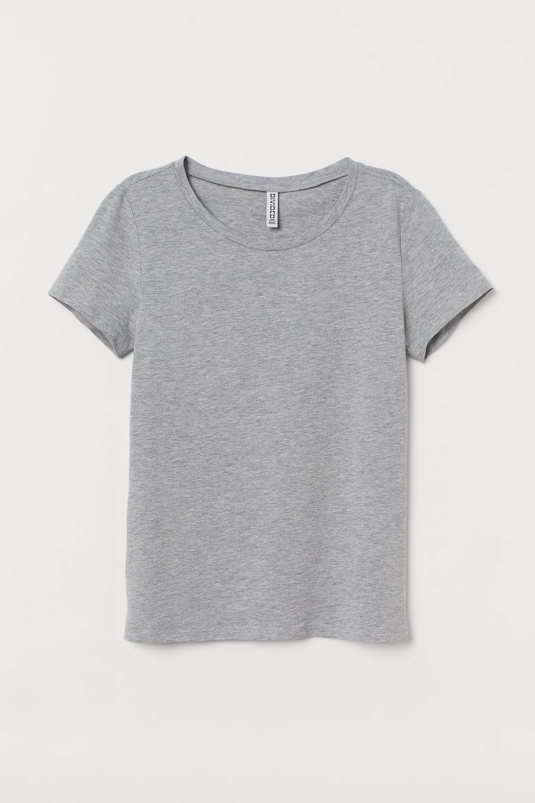 Cotton T-shirt - Grey marl - Ladies | H&M GB