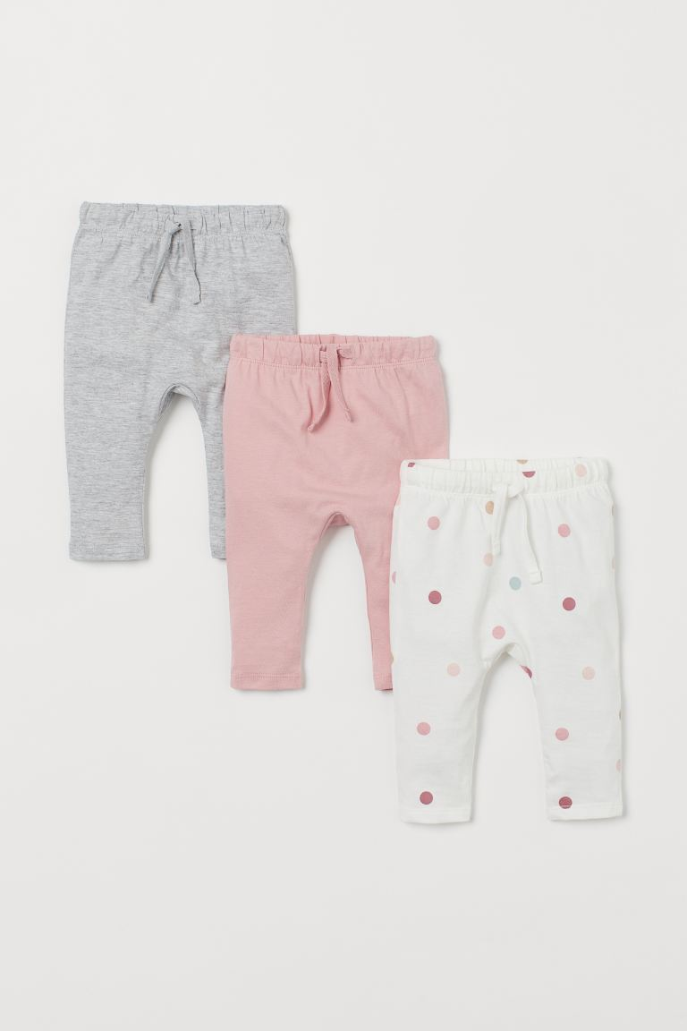 3-pack jersey trousers - Light pink/Spotted - Kids | H&M