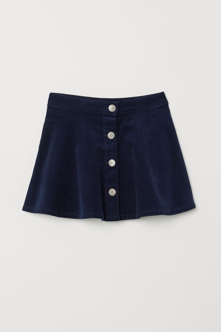 Corduroy Skirt - Dark blue - Kids | H&M US