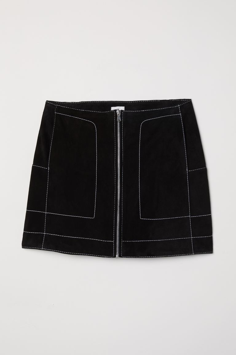 Short suede skirt - Black -  | H&M