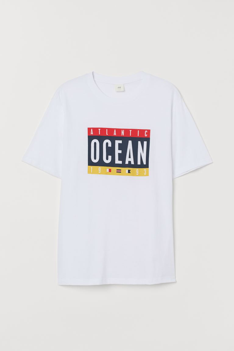 Printed T-shirt - White/Atlantic Ocean - Men | H&M IN