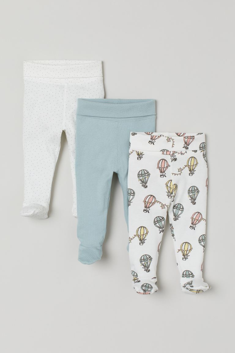 3-pack Pants - Mint green/hot air balloons - Kids | H&M US