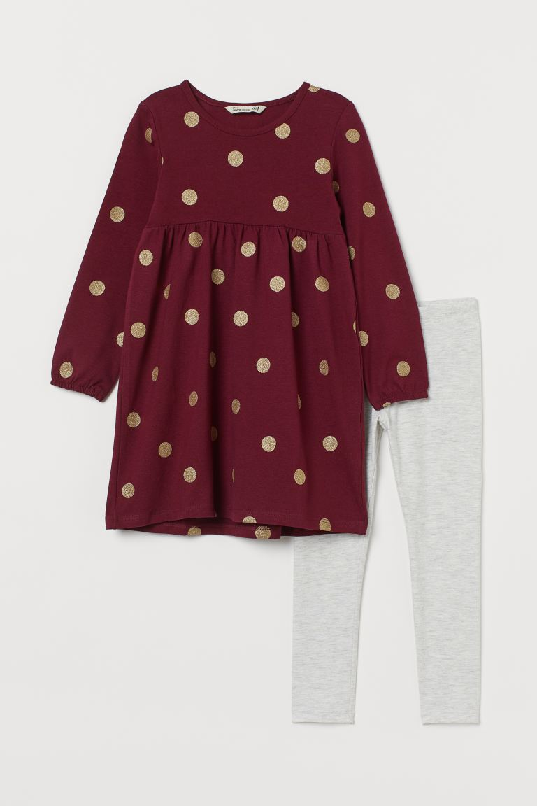 2-piece cotton set - Dark red/Spotted - Kids | H&M