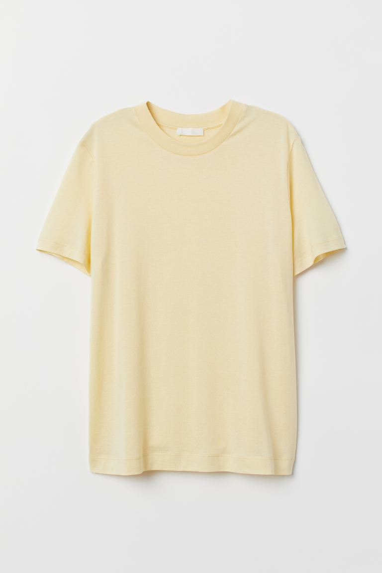 Silk-blend T-shirt - Light yellow - Ladies | H&M US