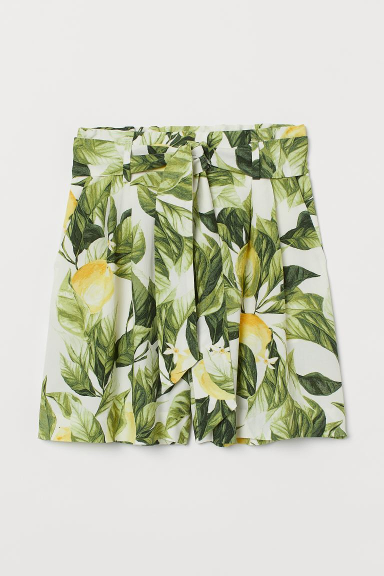 Tie-belt Shorts - White/lemons - Ladies | H&M US