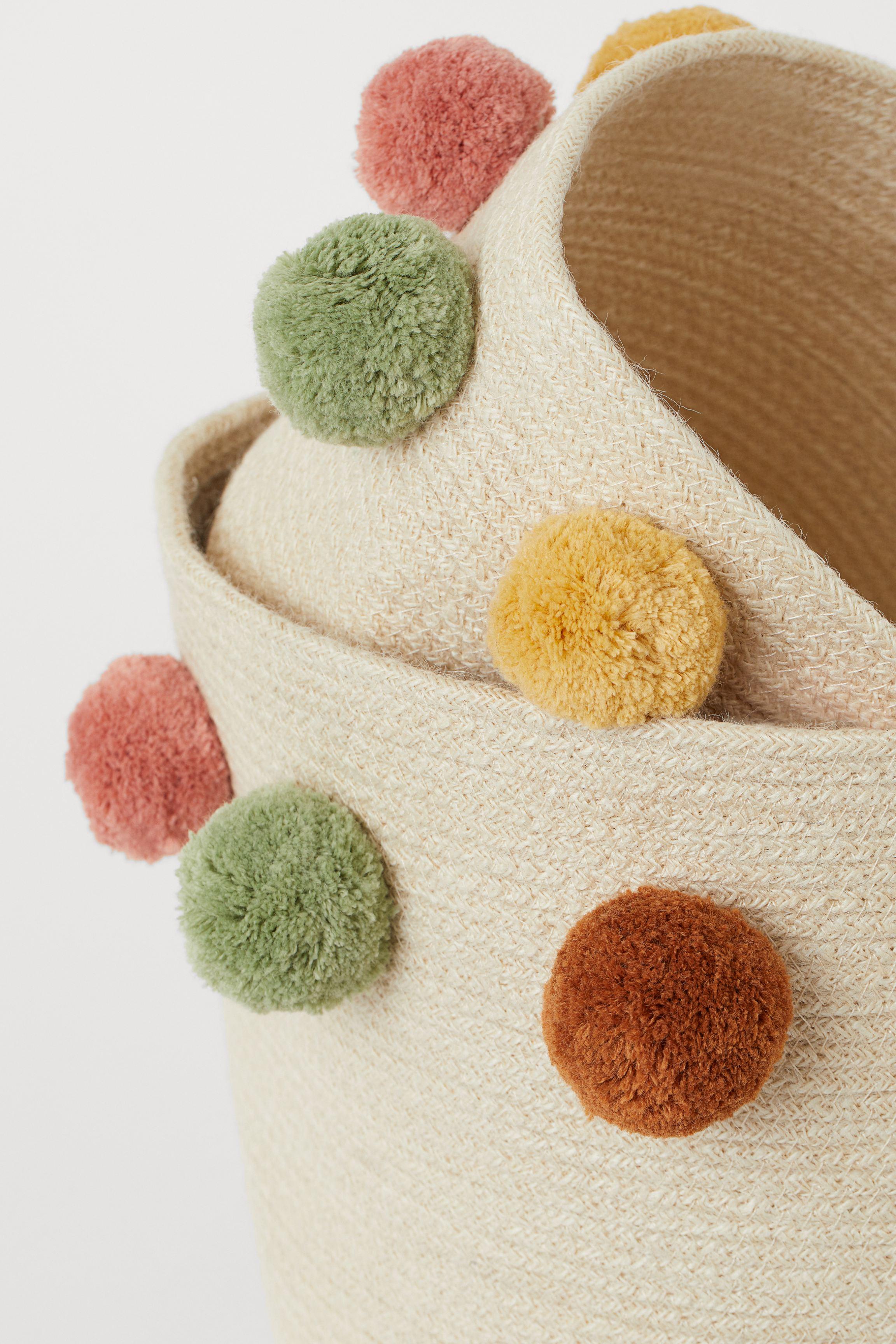 Storage Basket with Pompoms