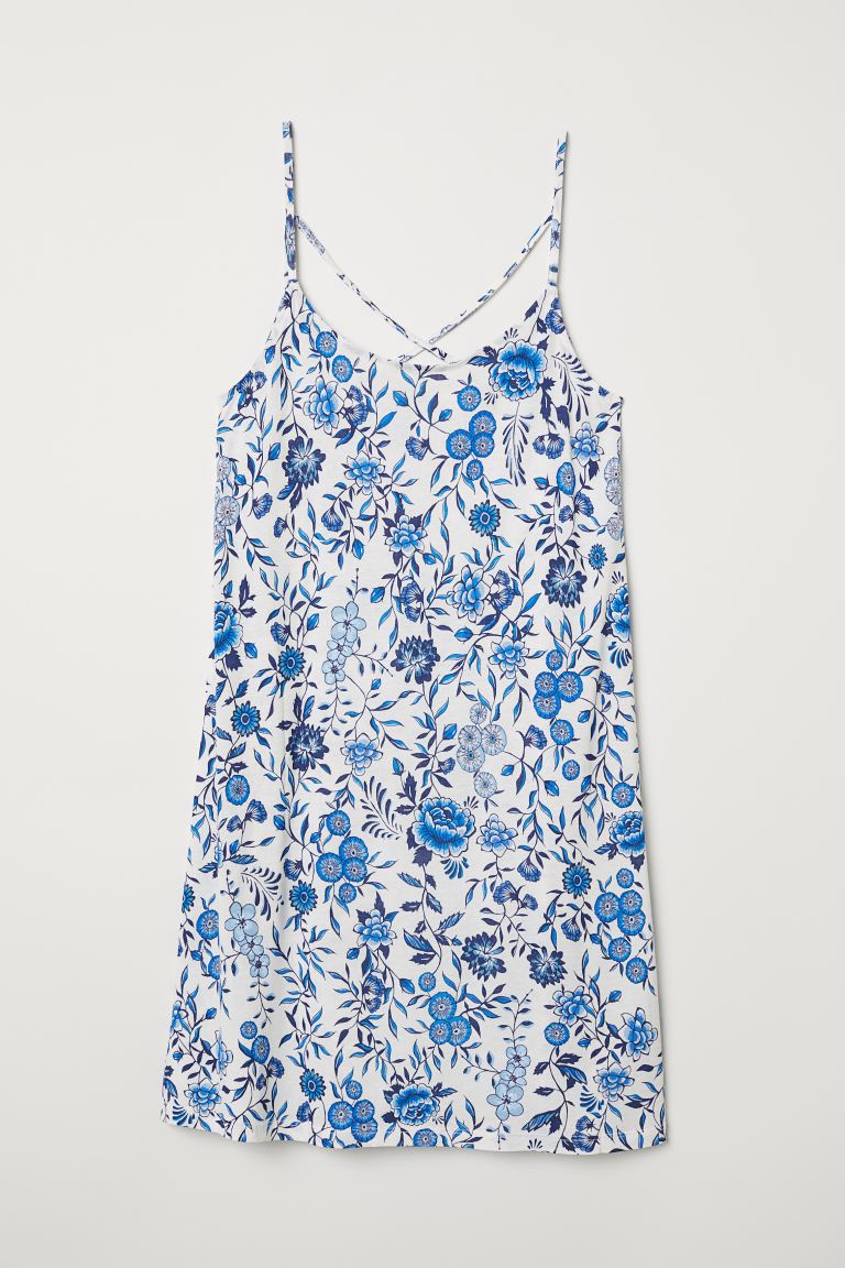 Patterned Jersey Dress - White/blue floral - Ladies | H&M US