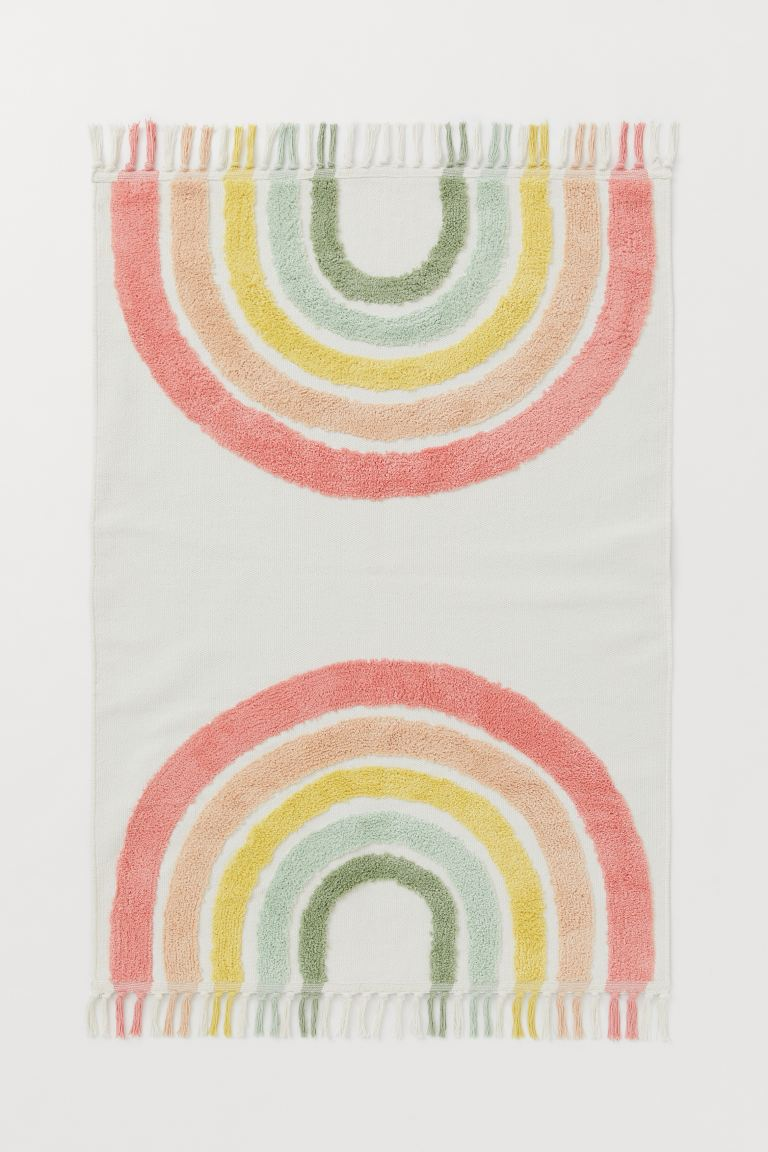 Rainbow Cotton Rug - White/rainbow - Home All | H&M US