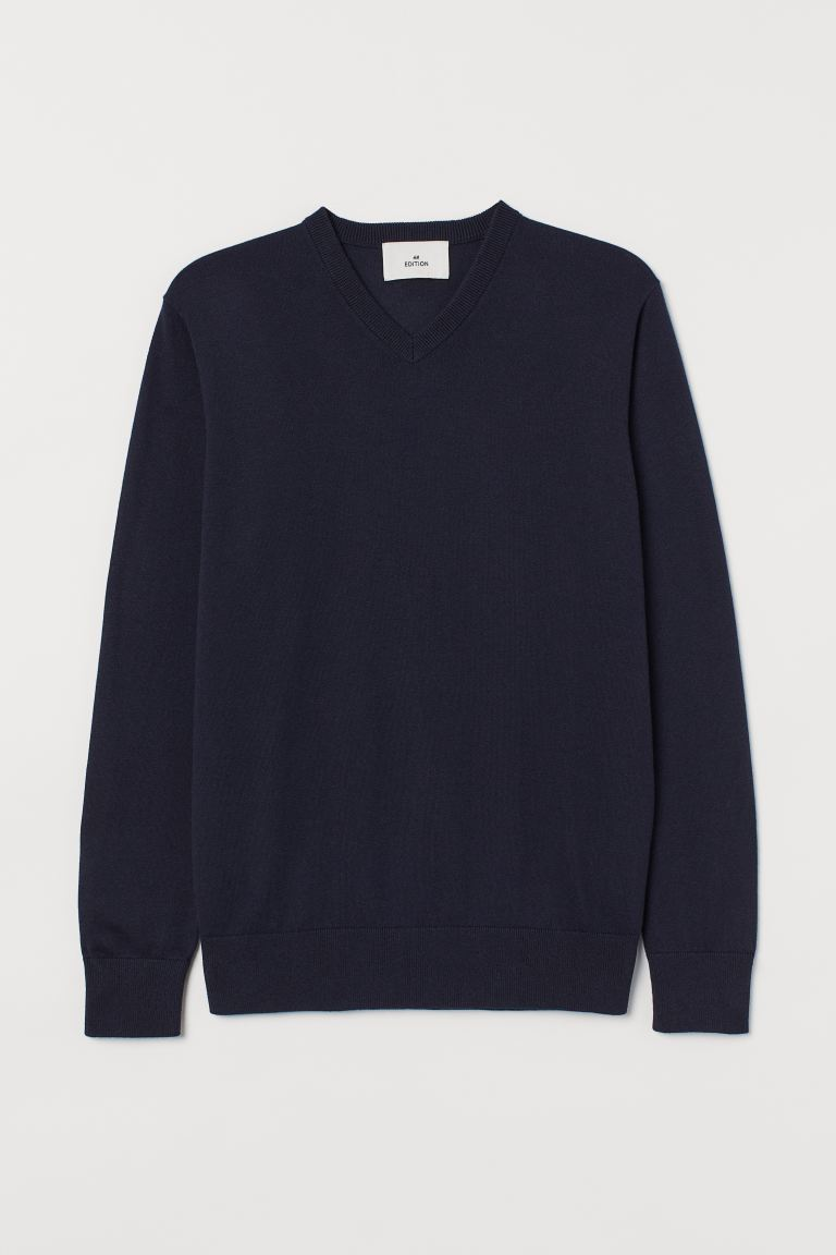 Cashmere-blend jumper - Dark blue - Men | H&M IN