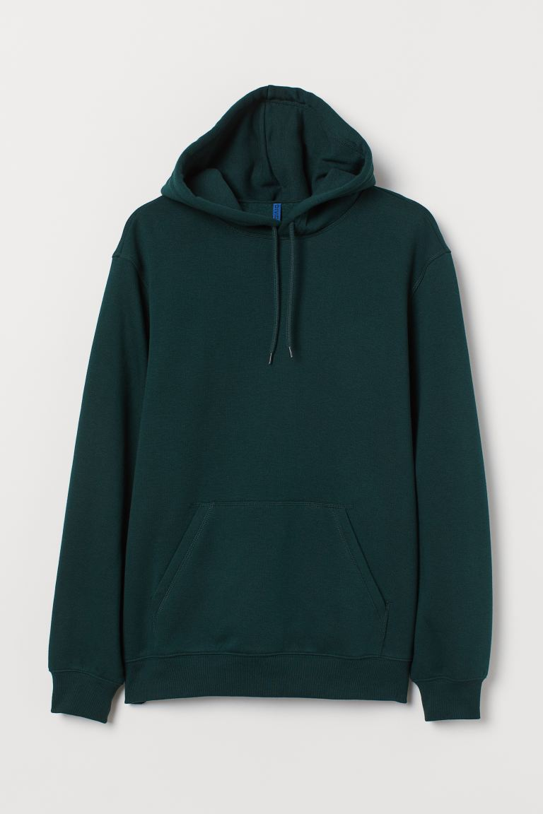 Relaxed Fit Hoodie - Dark green - Men | H&M IN