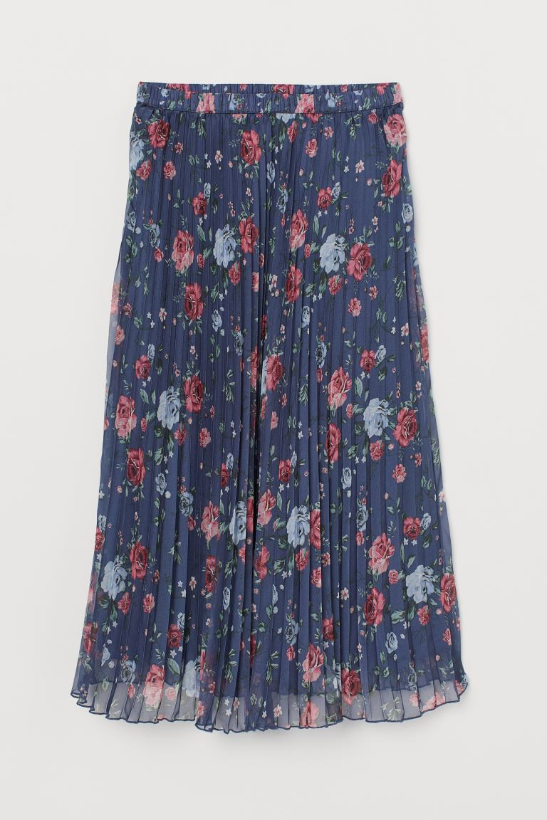 Pleated Skirt - Dark blue/floral - Ladies | H&M US