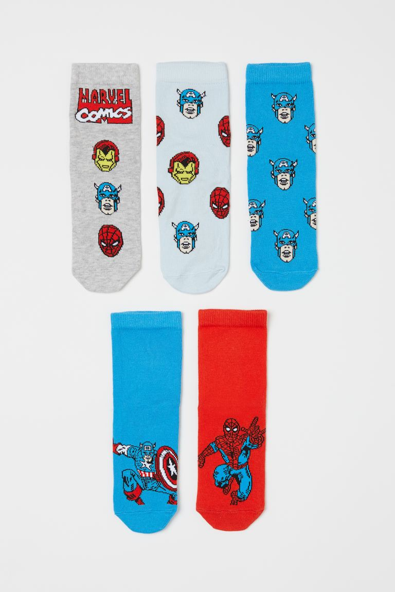 5-pack patterned socks - Light blue/Marvel Comics - Kids | H&M GB