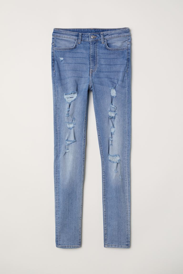 Super Skinny High Jeans - Denim blue/Trashed - Ladies | H&M GB