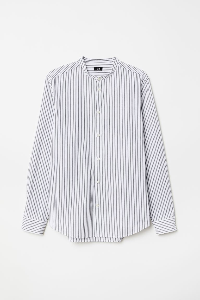 Poplin grandad shirt Slim Fit - White/Striped - Men | H&M GB