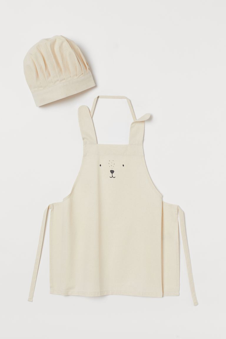 Grembiule e cappello da chef - Bianco naturale/coniglio - HOME | H&M IT