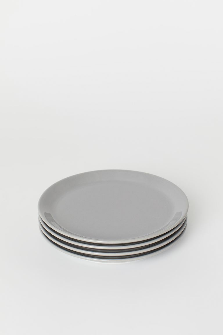 Assiettes, lot de 4 - Gris clair - HOME | H&M CH