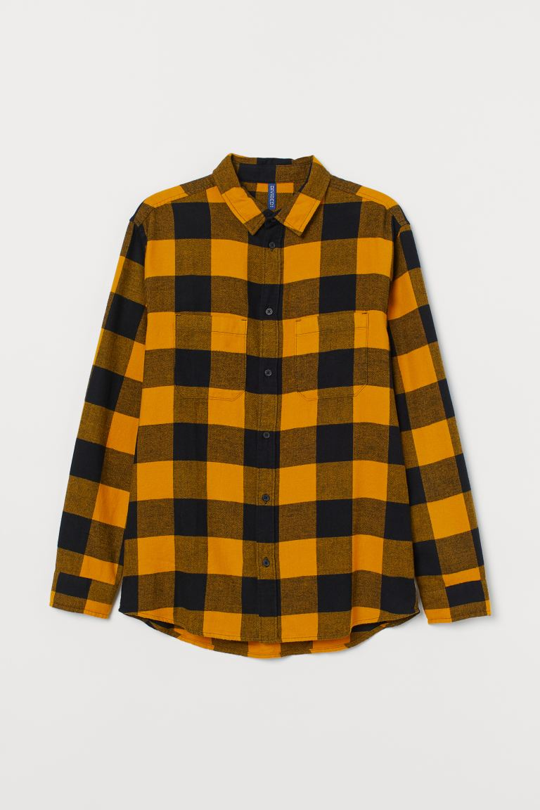 Cotton flannel shirt - Yellow/Black - Men | H&M