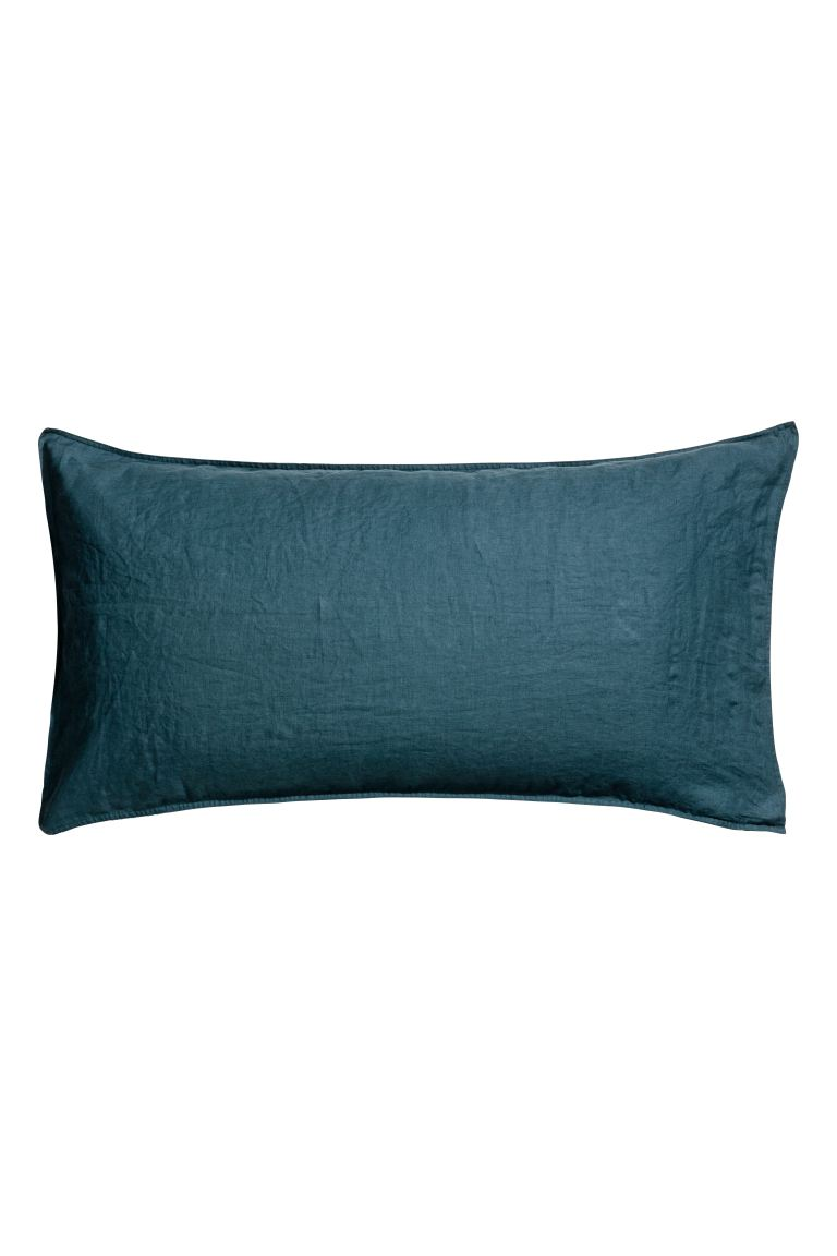Washed linen pillowcase - Turquoise - Home All | H&M GB