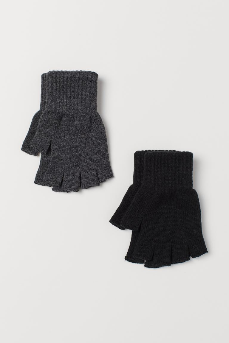 2-pack fingerless gloves - Black/Dark grey - Men | H&M IE