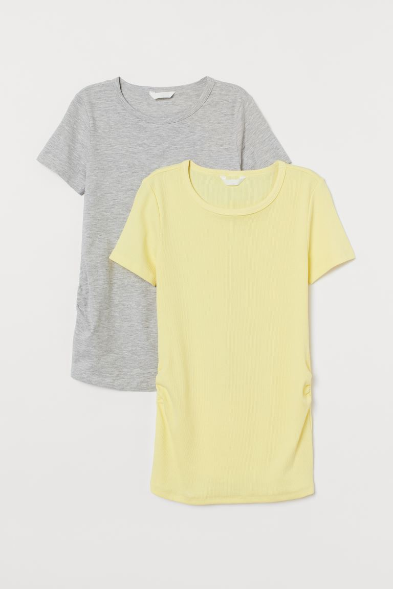 MAMA 2-pack jersey tops - Light yellow/Light grey marl - Ladies | H&M