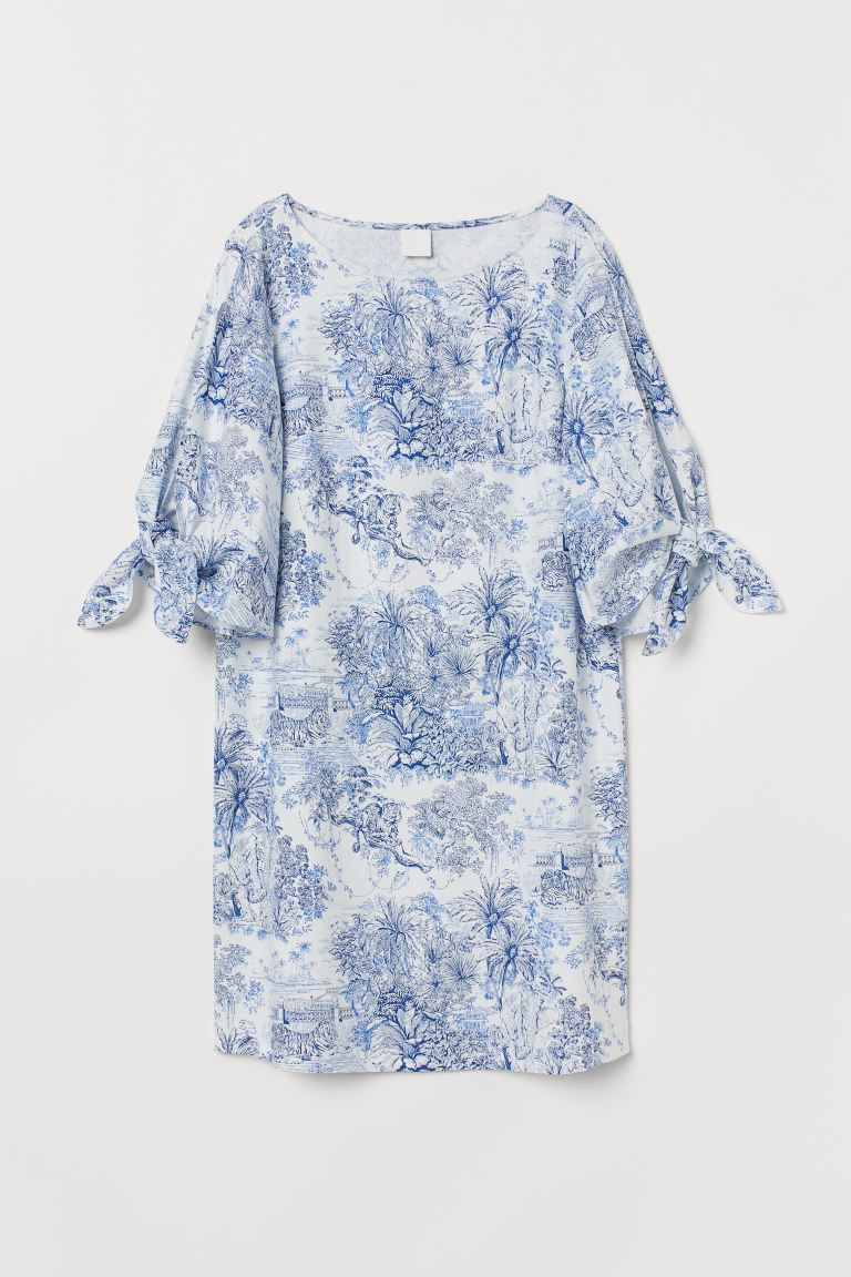 Tie-detail dress - White/Blue patterned - Ladies | H&M GB