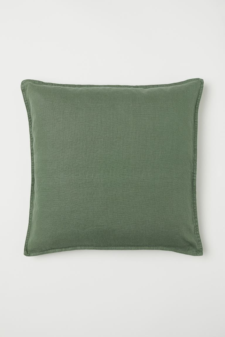 Washed linen cushion cover - Moss green - Home All | H&M GB